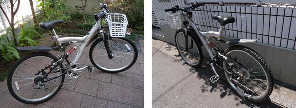 左は2009年の写真、右は今の姿です。自転車のスタイルと不釣り合いですが、実用性を重んじてプラスチックのカゴを買ってきて取り付けました。