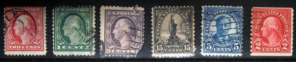 アメリカの切手は左から3枚まで1908年、自由の女神と右隣は1922年、そして1923年発行となります。 左から3枚目の切手は自分の不注意で右下を切ってしまいました。断片はその上に引っかかっていますが・・・。